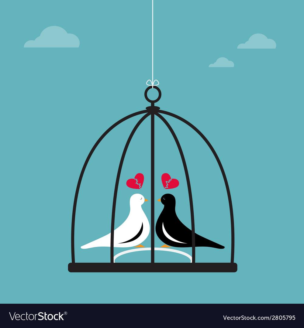 Birds in cage vector | Price: 1 Credit (USD $1)