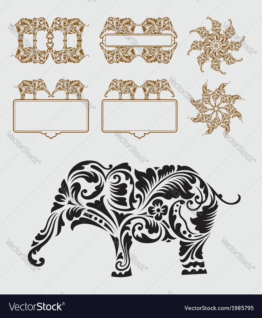 Elephant floral ornament decoration vector | Price: 1 Credit (USD $1)