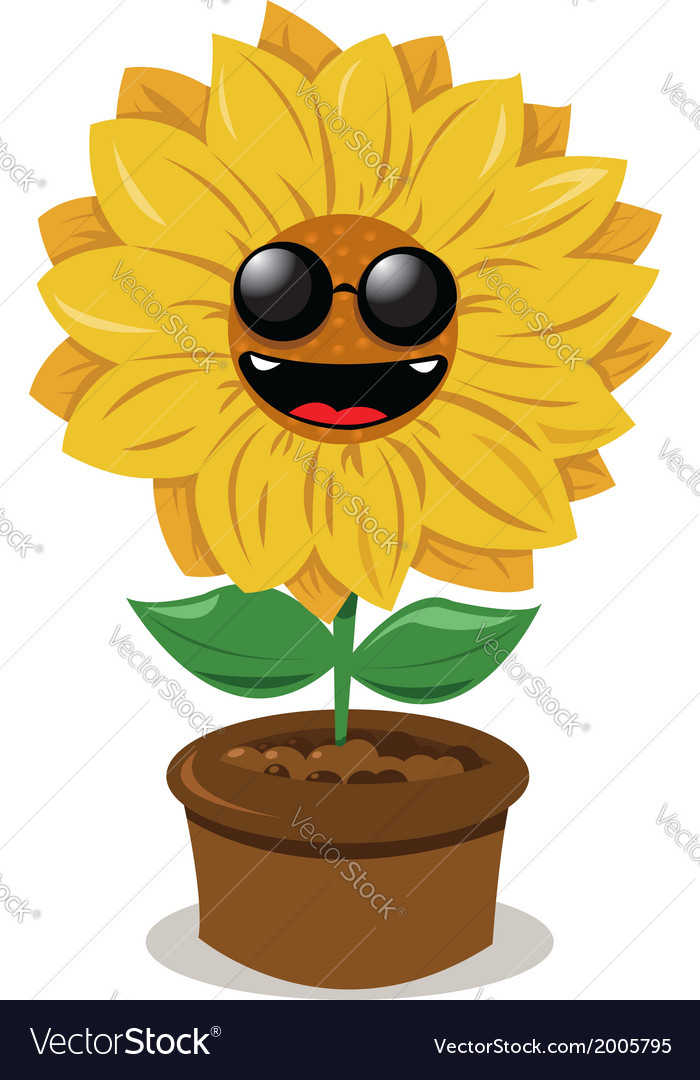Funny sunflower wearing sunglasses vector | Price: 1 Credit (USD $1)