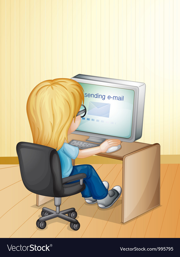 Girl using computer vector | Price: 1 Credit (USD $1)