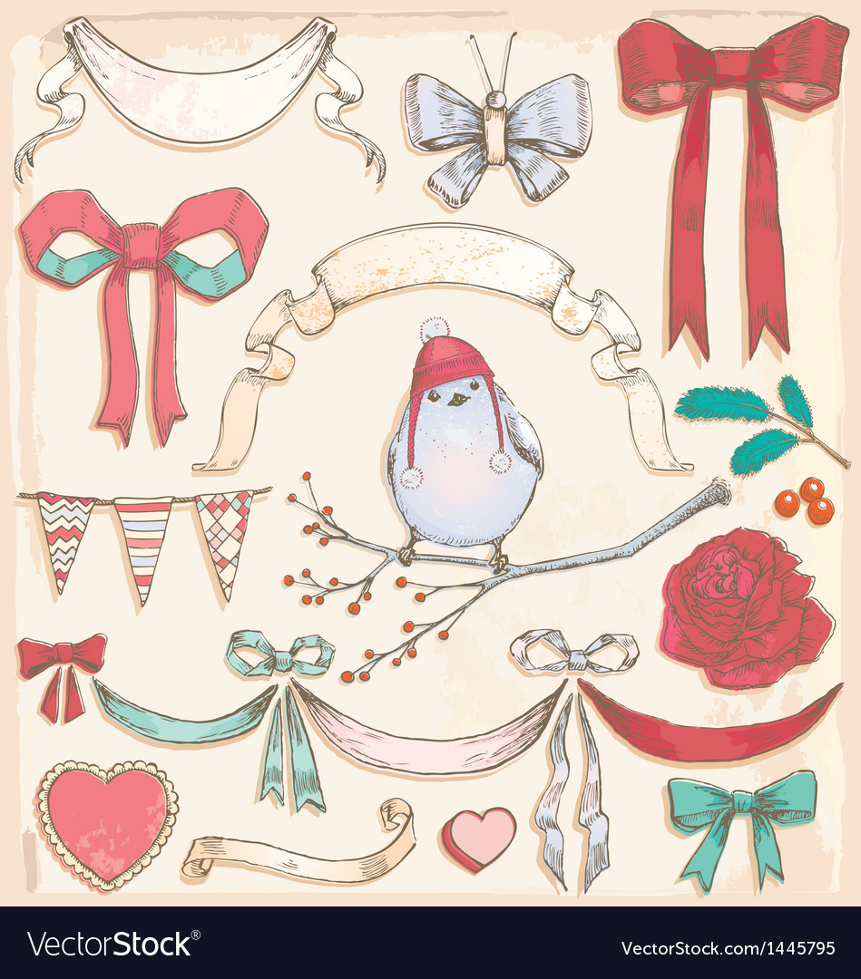 Hand drawn vintage bird ribbons and bows set vector | Price: 3 Credit (USD $3)