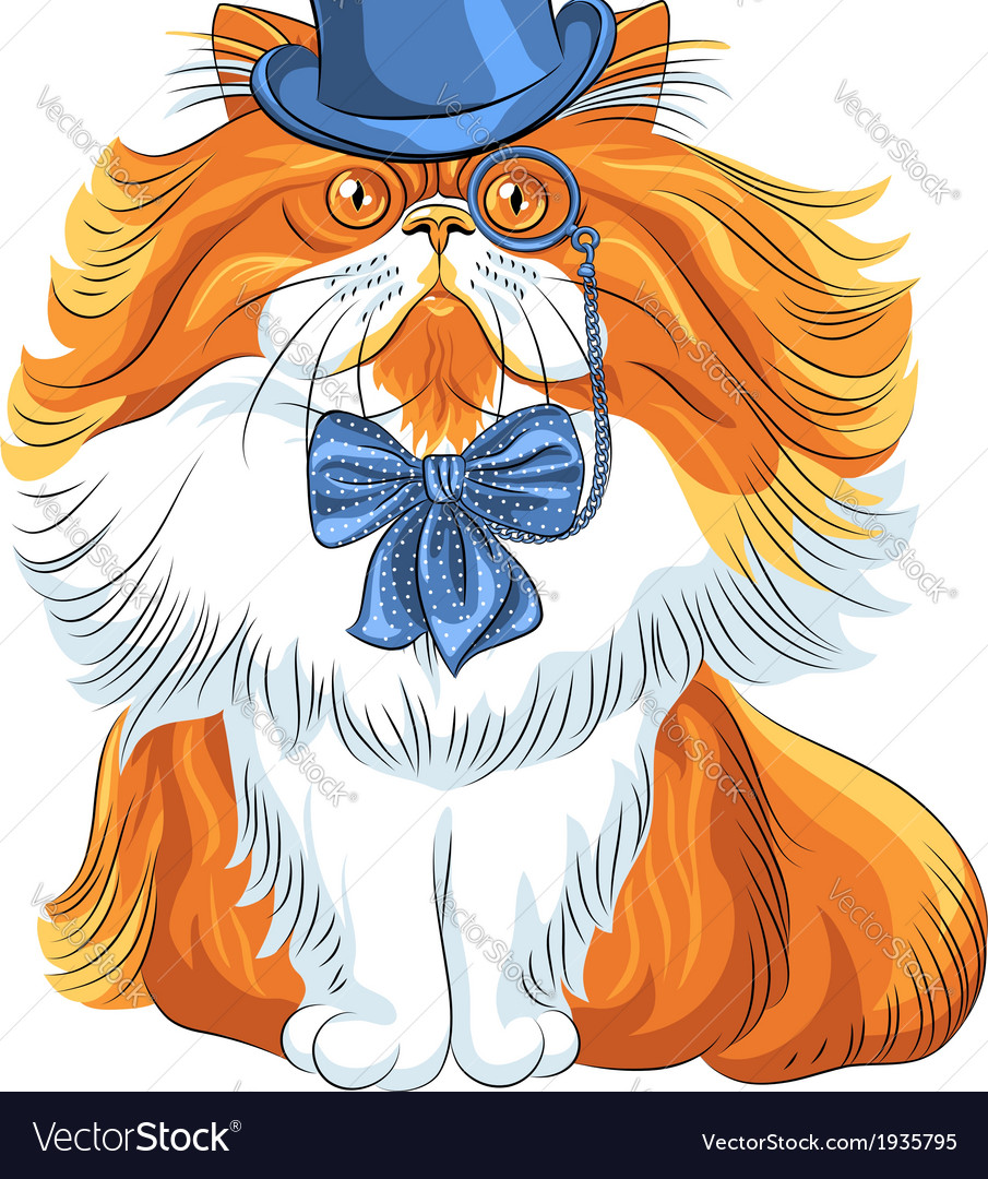 Hipster cute red fluffy persian cat in a blue hat vector | Price: 1 Credit (USD $1)