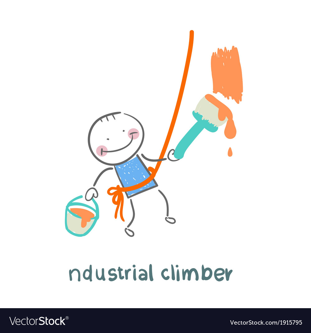 Industrial climber paints the wall vector | Price: 1 Credit (USD $1)
