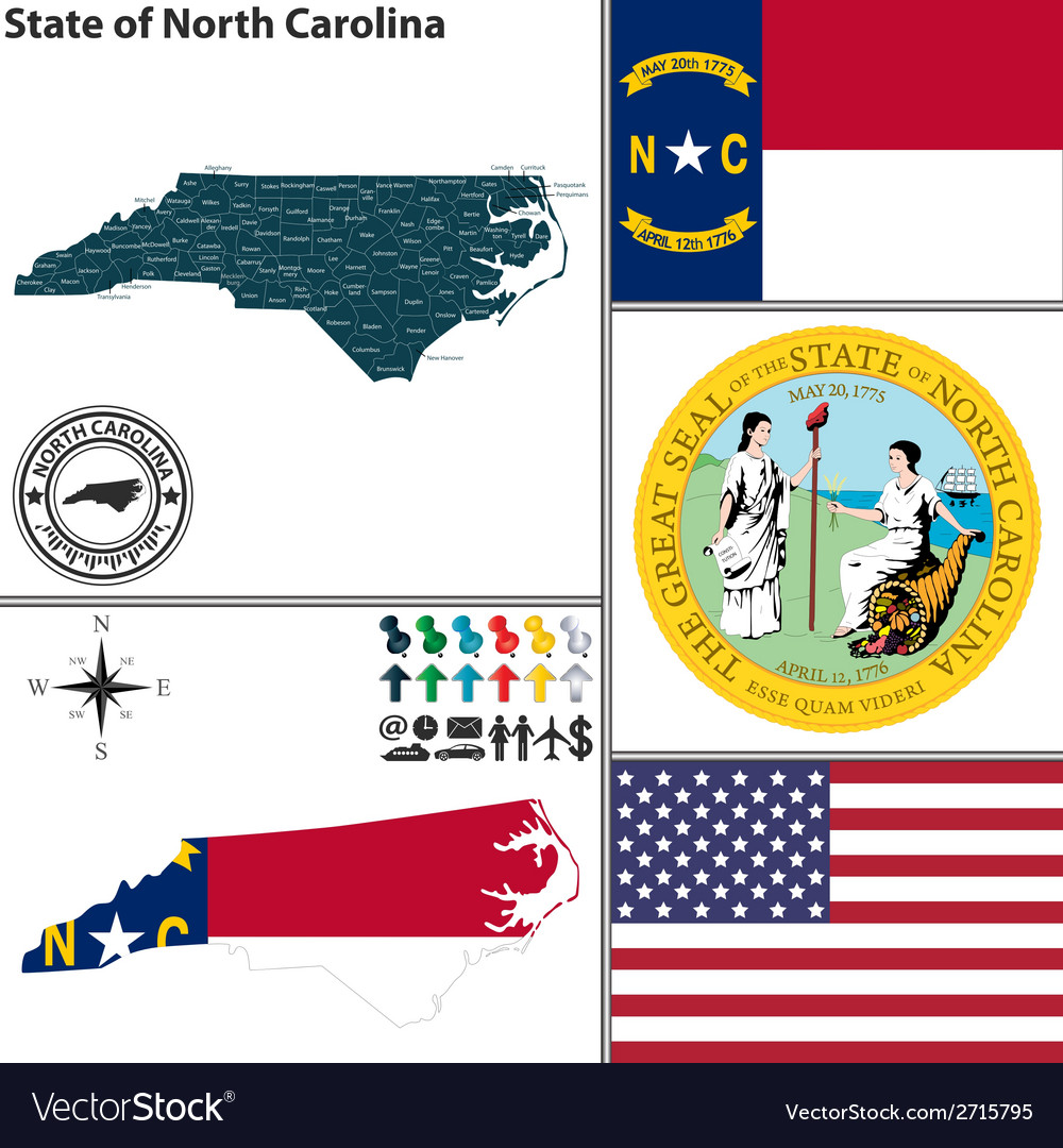 Map of north carolina with seal vector | Price: 1 Credit (USD $1)