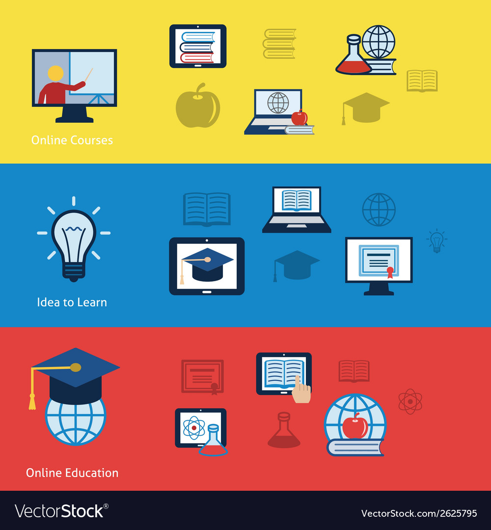 Online education banners vector | Price: 1 Credit (USD $1)