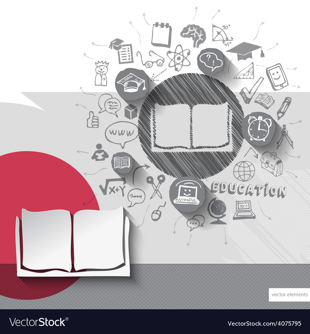 Paper and hand drawn book emblem with icons vector | Price: 1 Credit (USD $1)
