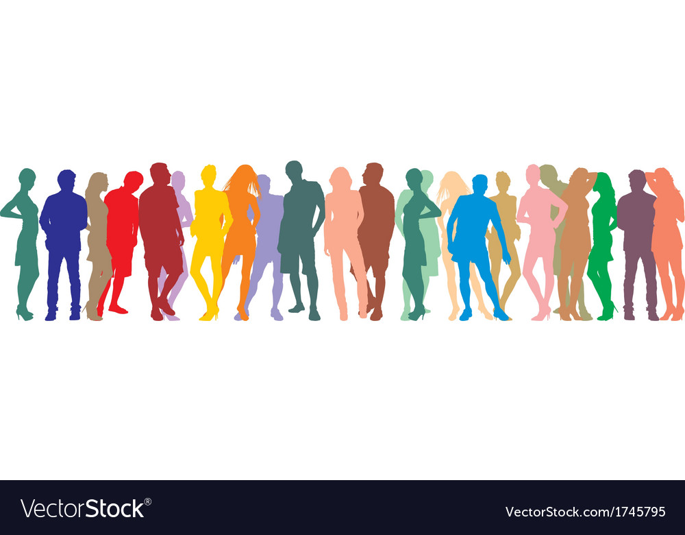 Silhouette people on a white background vector | Price: 1 Credit (USD $1)