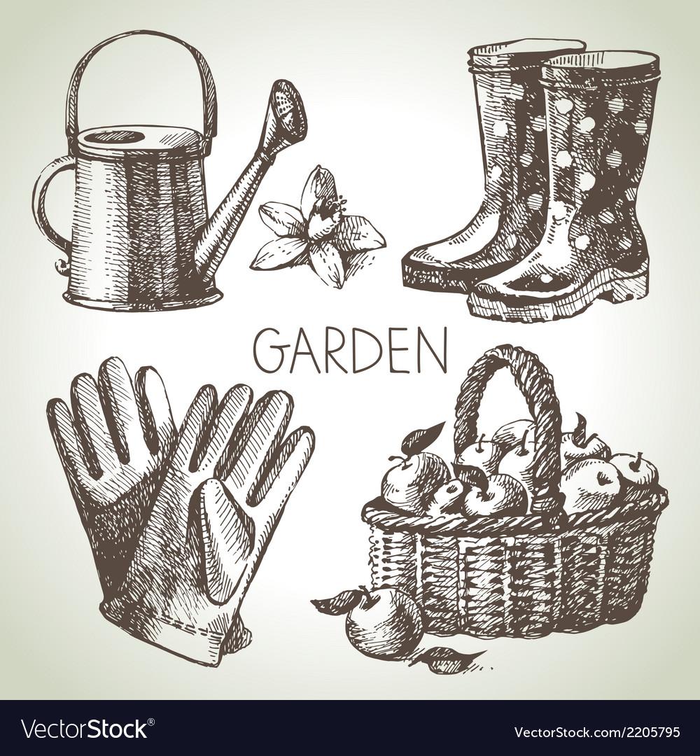 Sketch gardening set vector | Price: 1 Credit (USD $1)