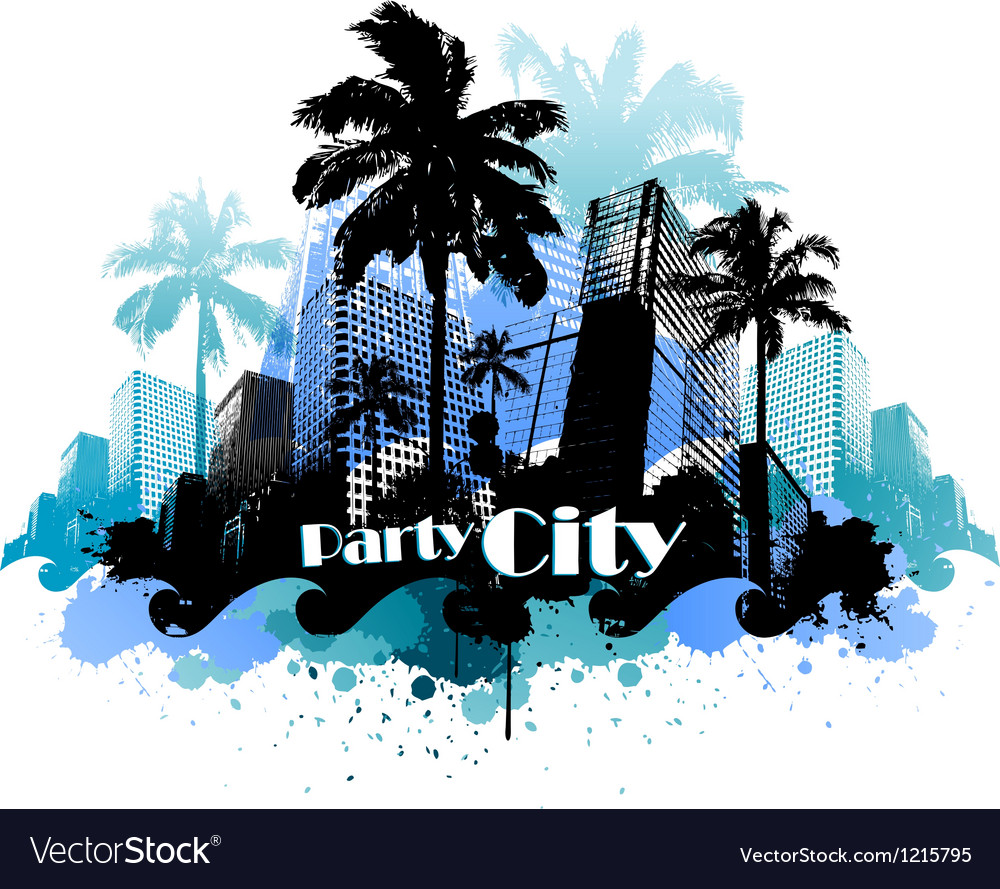 Tropical urban party city background vector | Price: 1 Credit (USD $1)