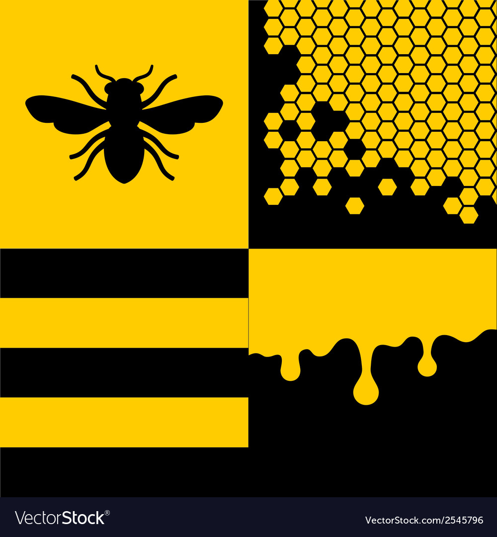 Bee honeycells and honey patterns set vector | Price: 1 Credit (USD $1)
