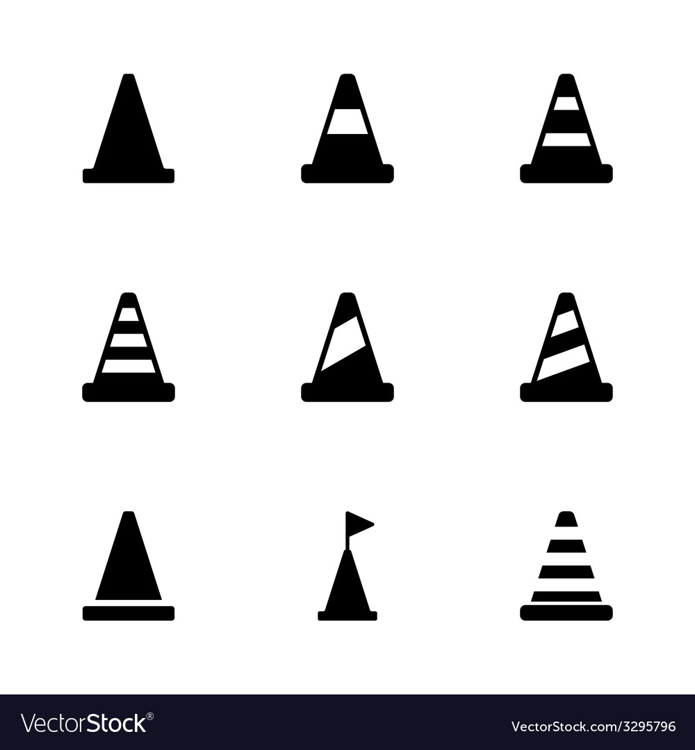 Black traffic cone icon set vector | Price: 1 Credit (USD $1)