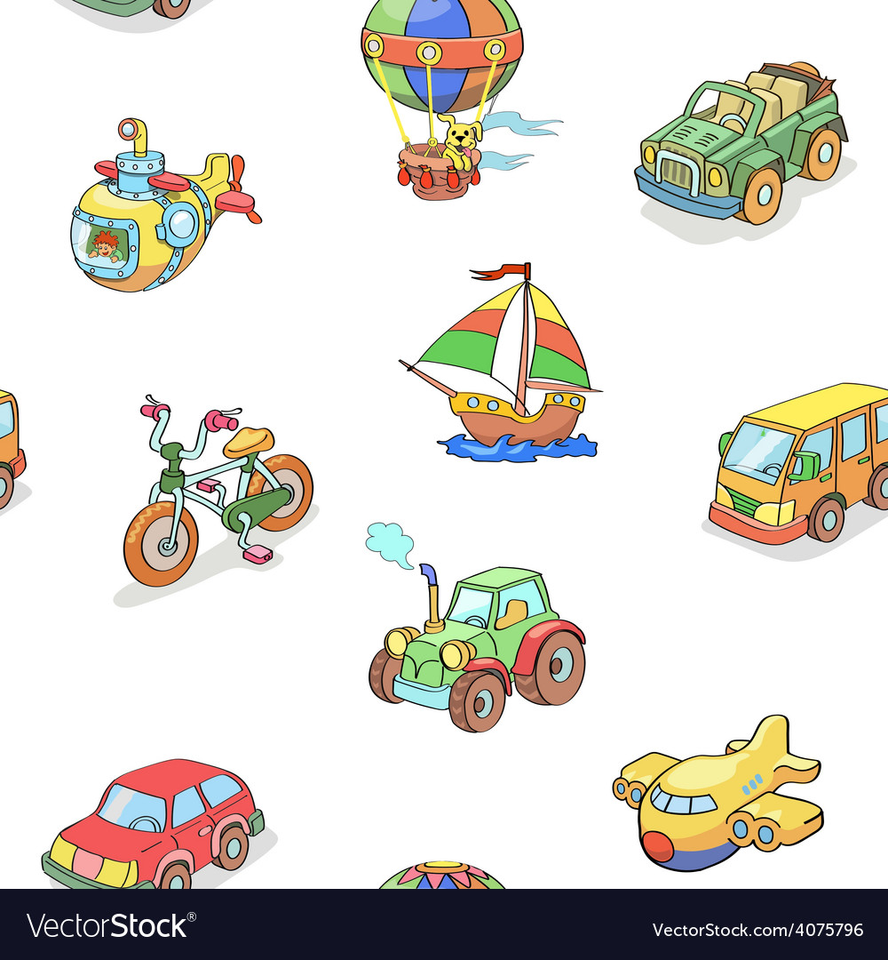 Cartoon collection of transportation seamless vector | Price: 1 Credit (USD $1)