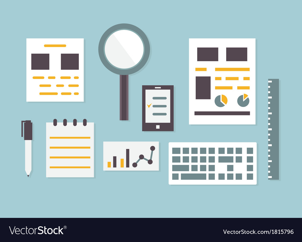 Flat design of objects and equipment analytics vector | Price: 1 Credit (USD $1)
