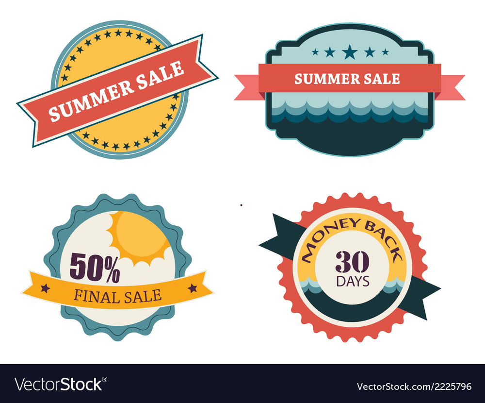Set of four retro labels for summer sale vector | Price: 1 Credit (USD $1)