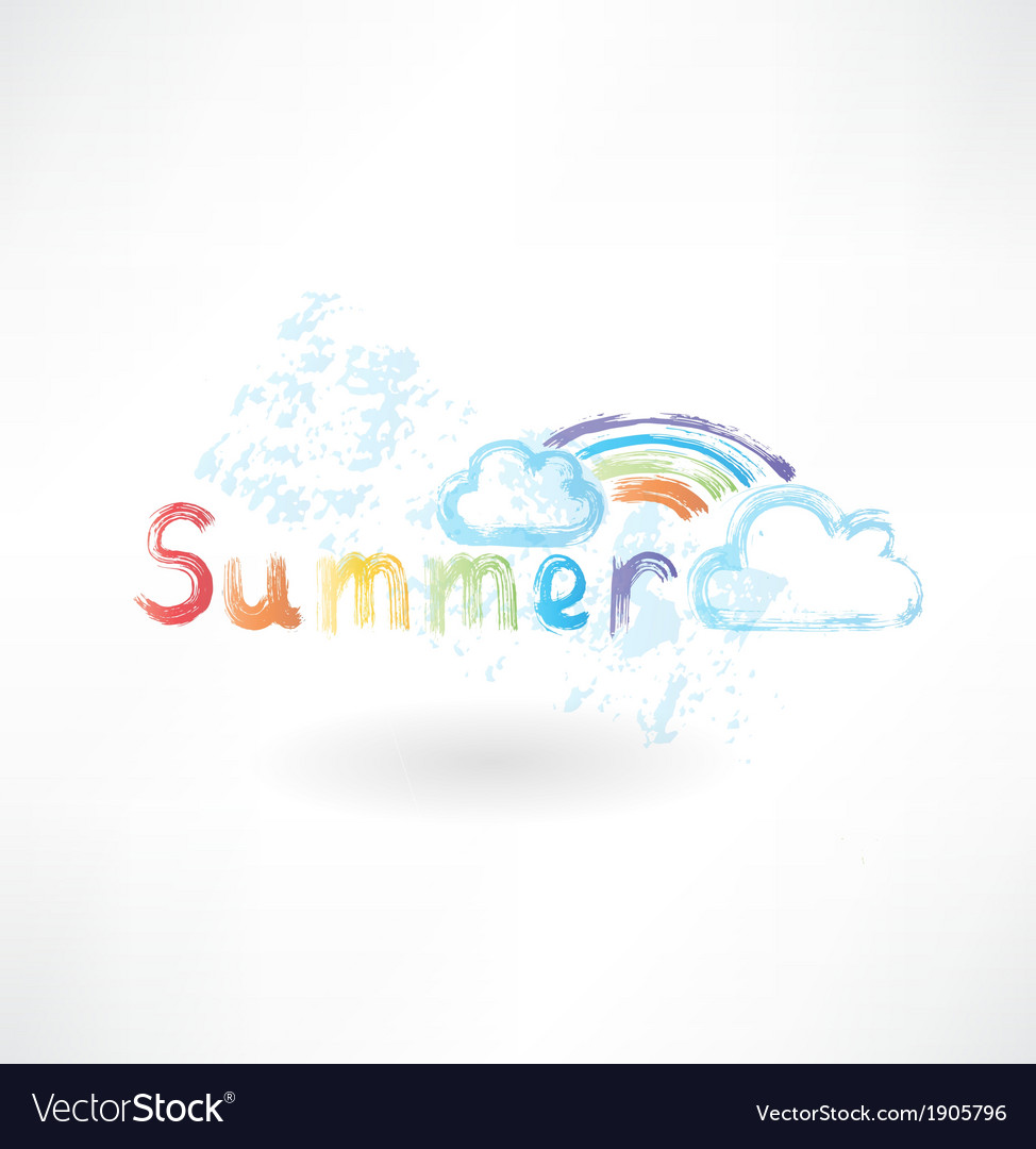 Summer rainbow grunge icon vector | Price: 1 Credit (USD $1)