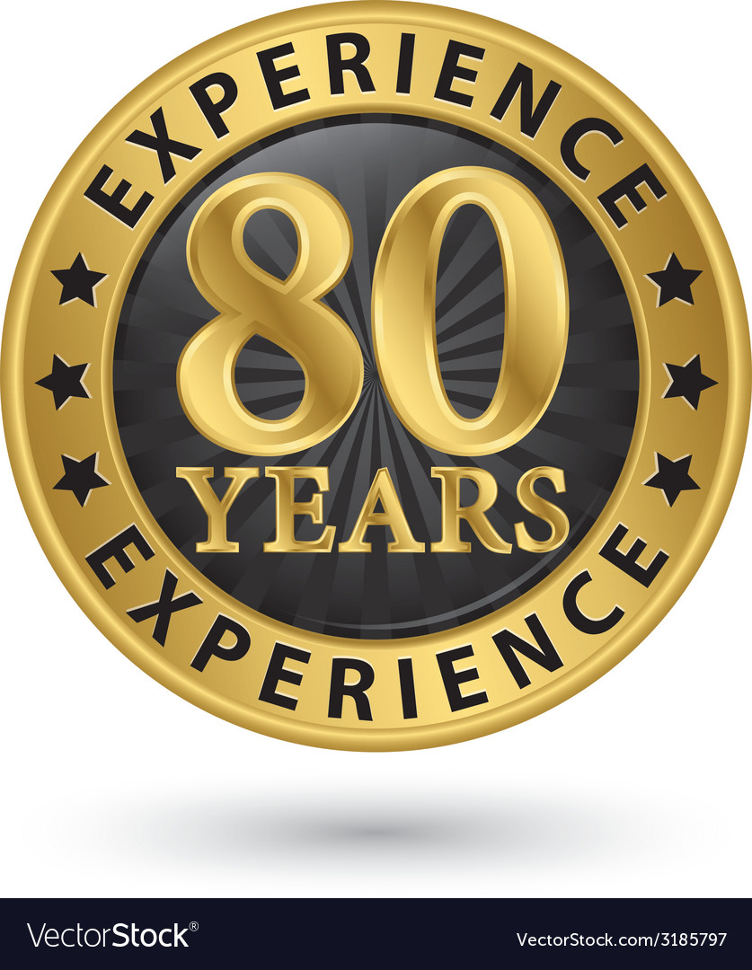 80 years experience gold label vector | Price: 1 Credit (USD $1)