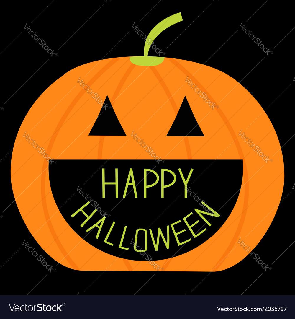 Big pumpkin with happy halloween text inside card vector | Price: 1 Credit (USD $1)