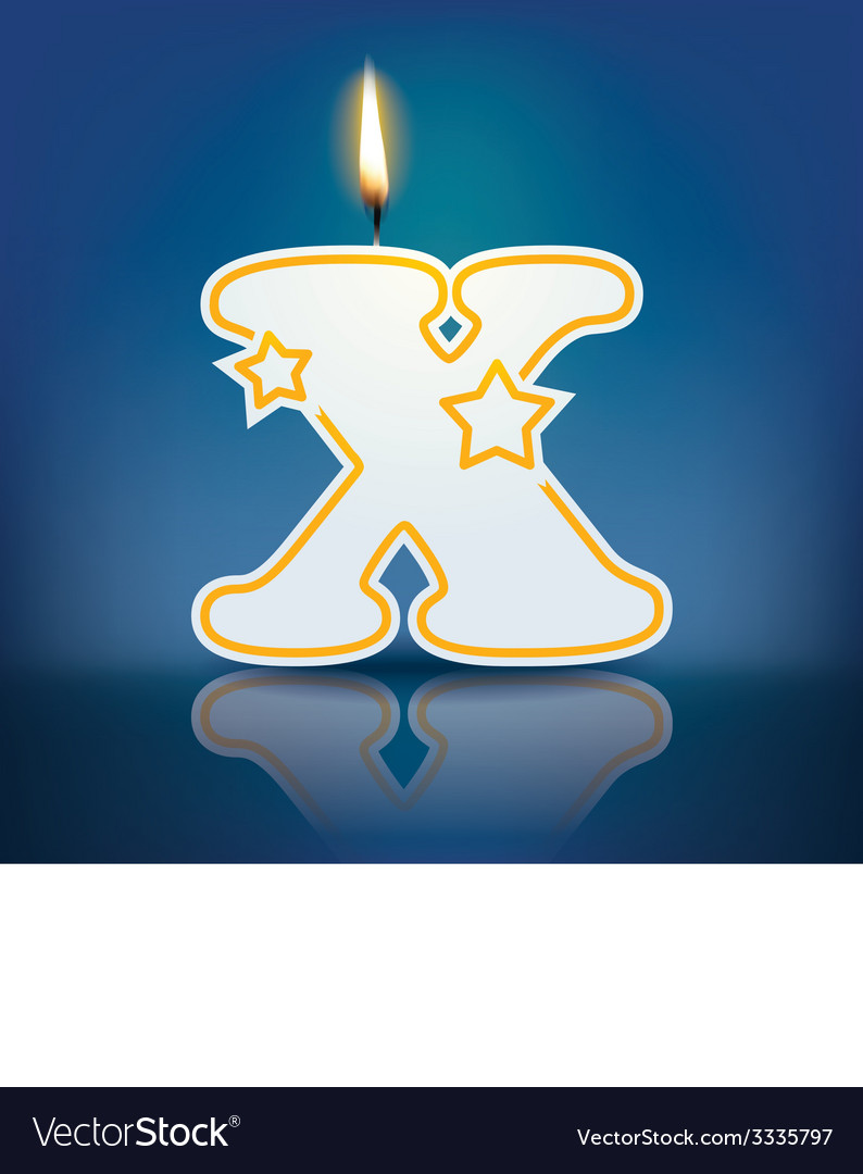 Candle letter x with flame vector   Price: 1 Credit (USD $1)