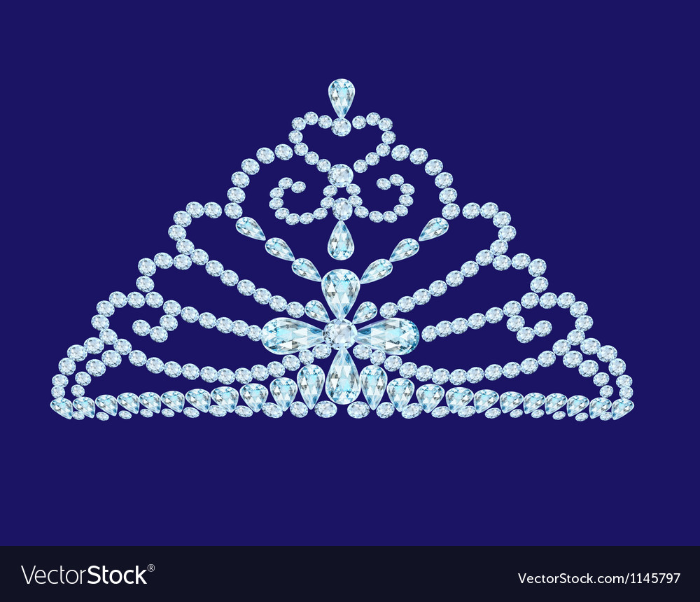 Feminine wedding diadem crown on blue vector | Price: 1 Credit (USD $1)