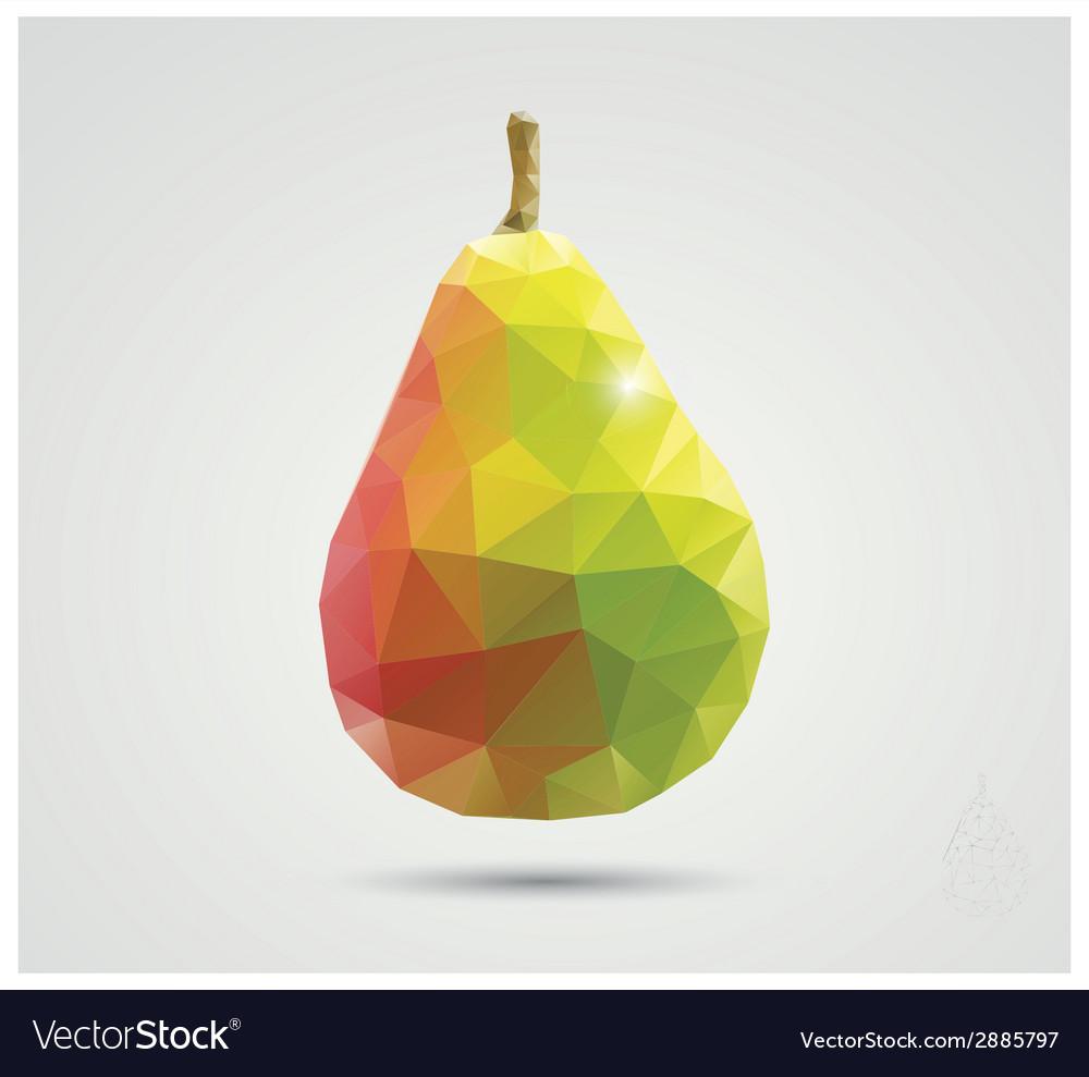 Geometric polygonal fruit triangles pear vector | Price: 1 Credit (USD $1)