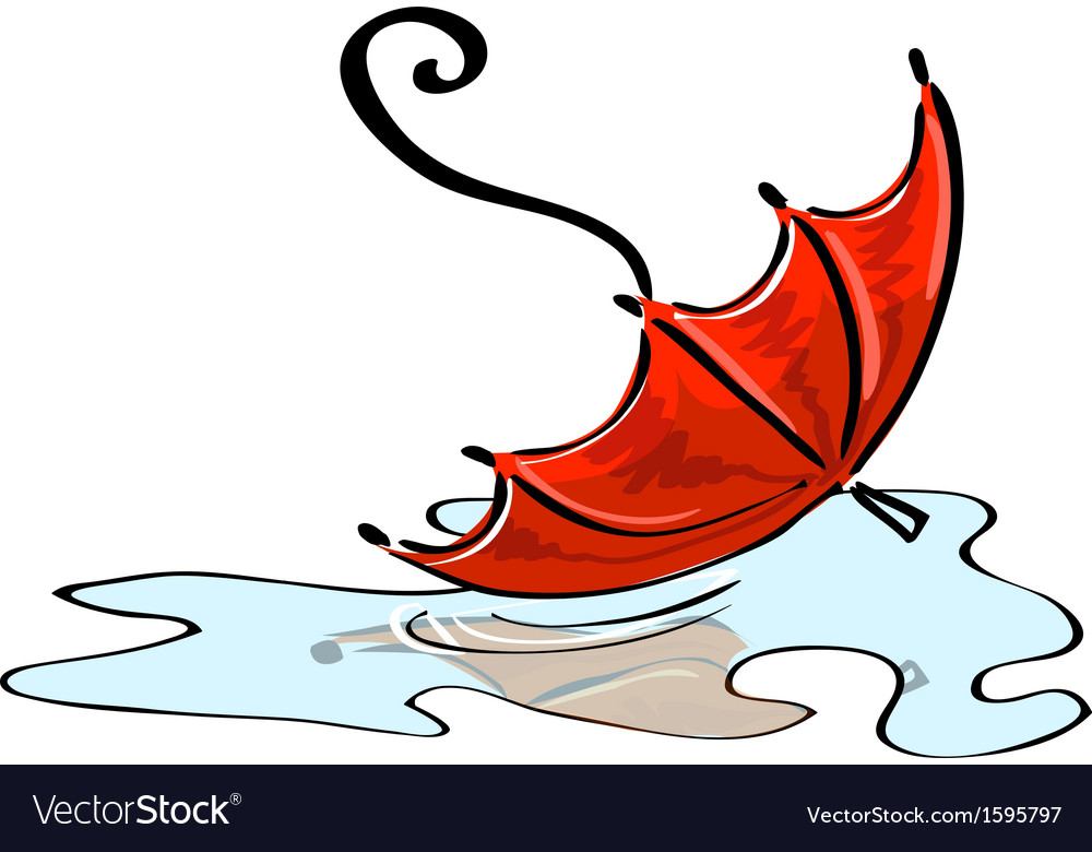 Red umbrella fallen into a puddle vector | Price: 1 Credit (USD $1)
