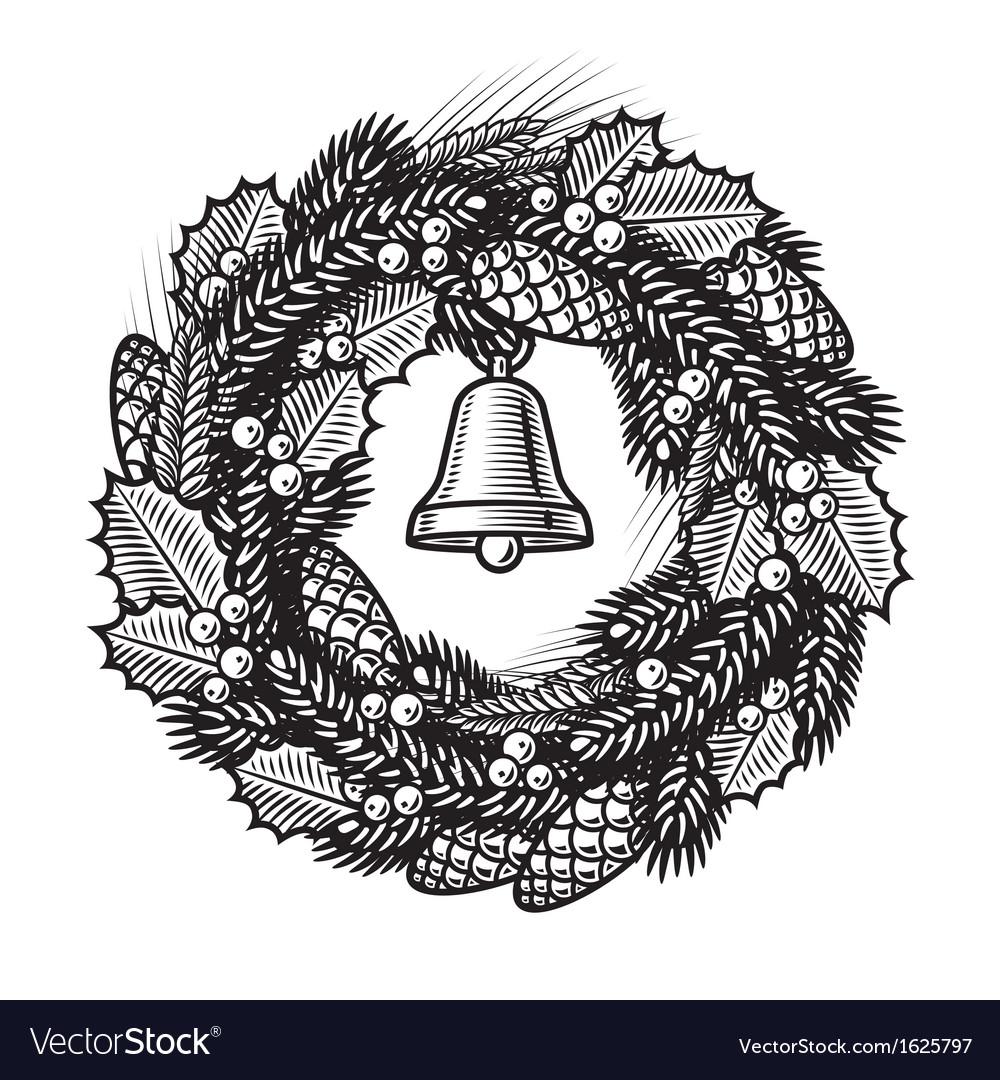 Retro christmas wreath black and white vector   Price: 1 Credit (USD $1)
