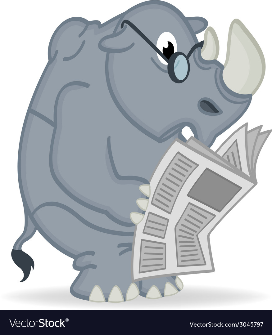 Rhino reading newspaper vector | Price: 1 Credit (USD $1)