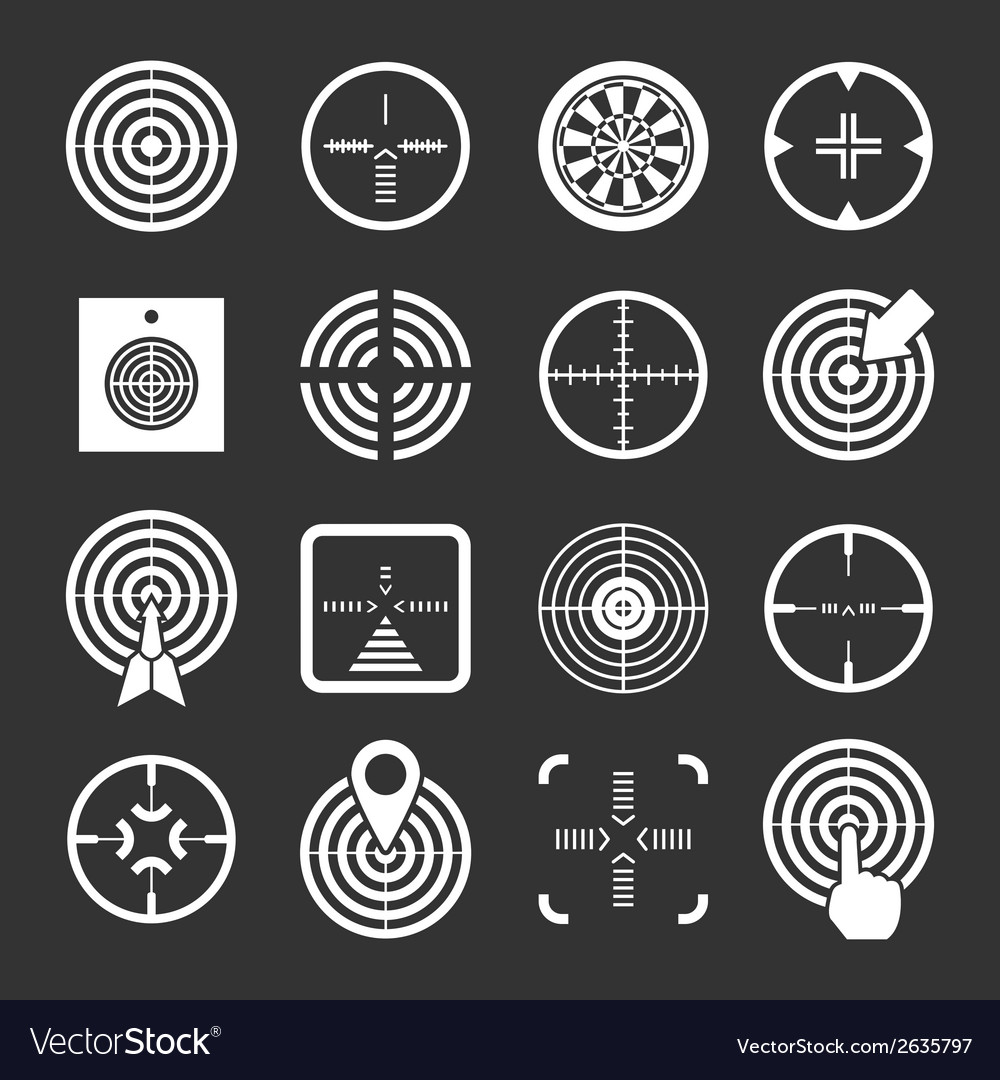 Set icons of target and sights vector | Price: 1 Credit (USD $1)