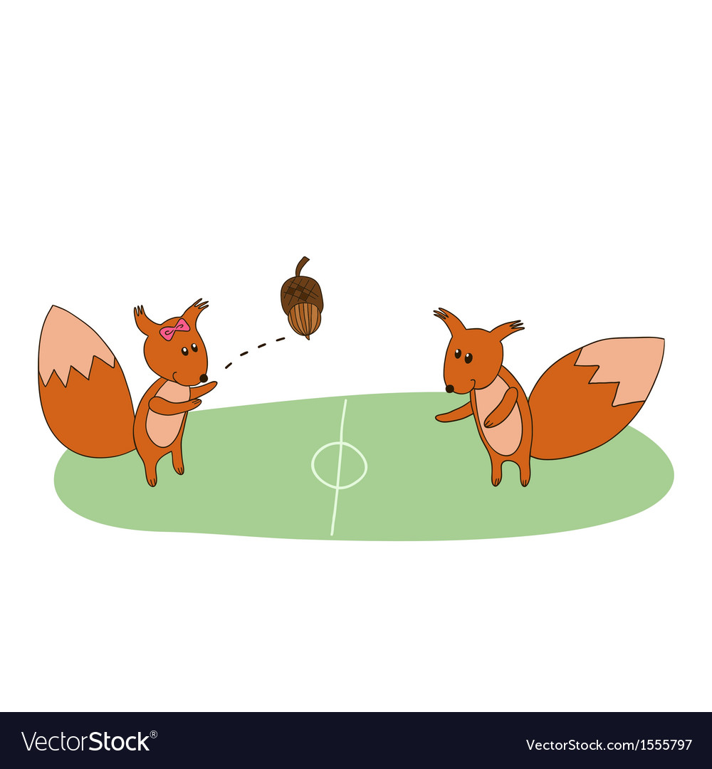 Squirrels play with acorn on the field vector | Price: 1 Credit (USD $1)