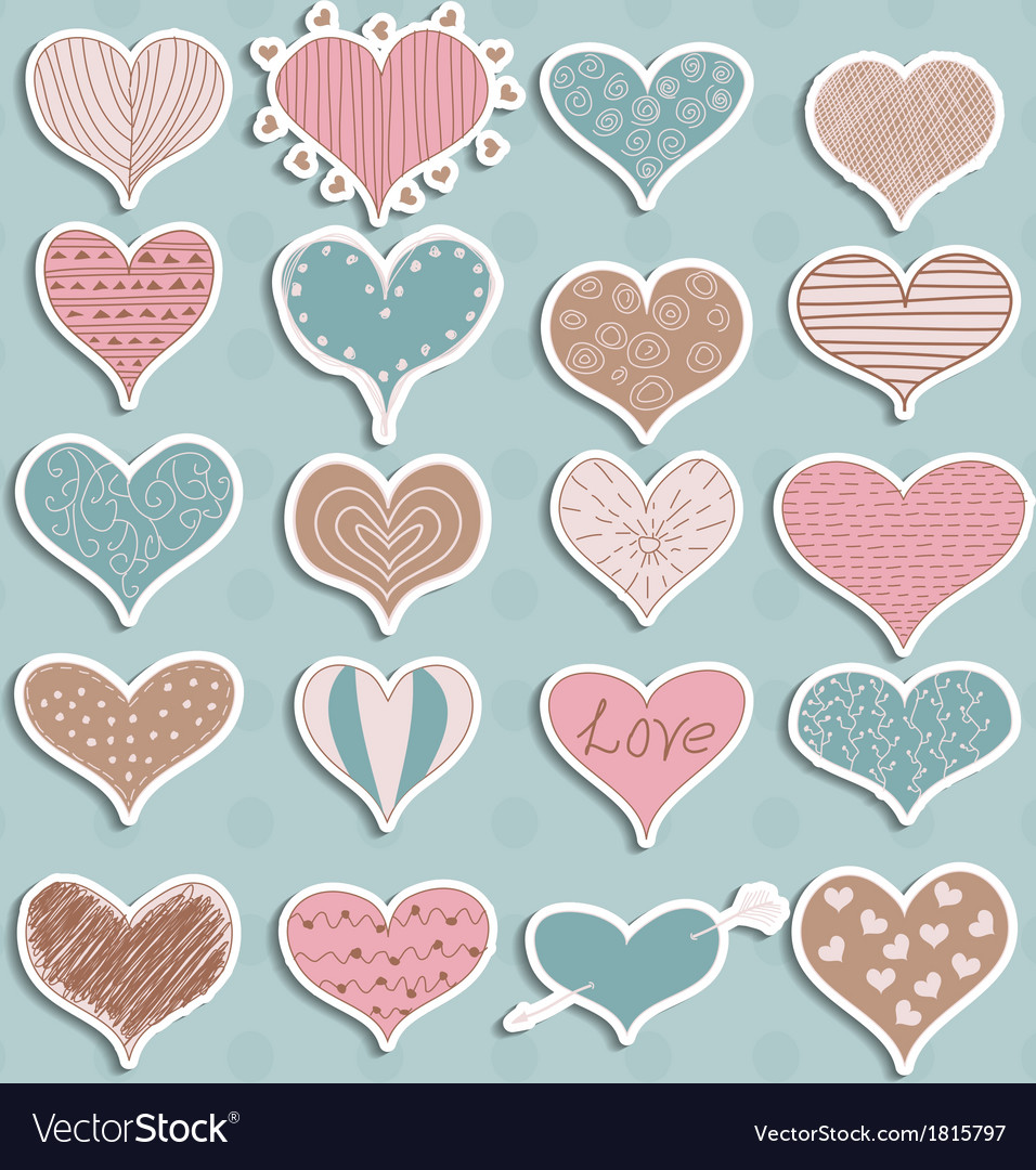 Valentines day hearts retro sketchy doodles on vector | Price: 1 Credit (USD $1)