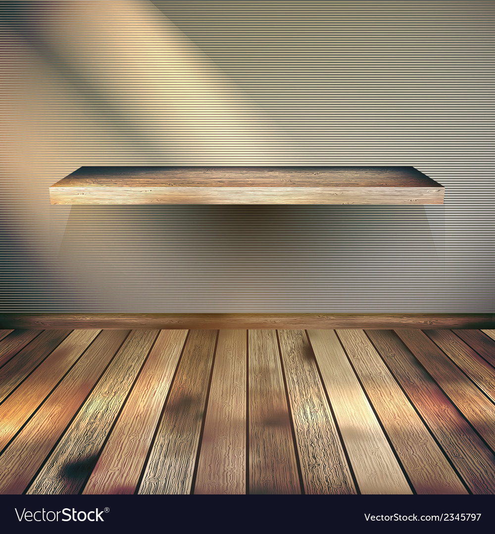 Wooden empty shelf background eps 10 vector | Price: 1 Credit (USD $1)