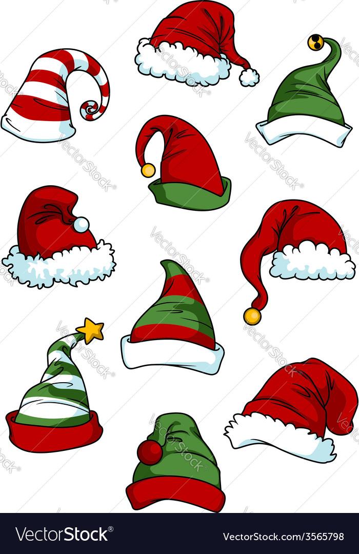 Clown joker and santa claus cartoon hats vector