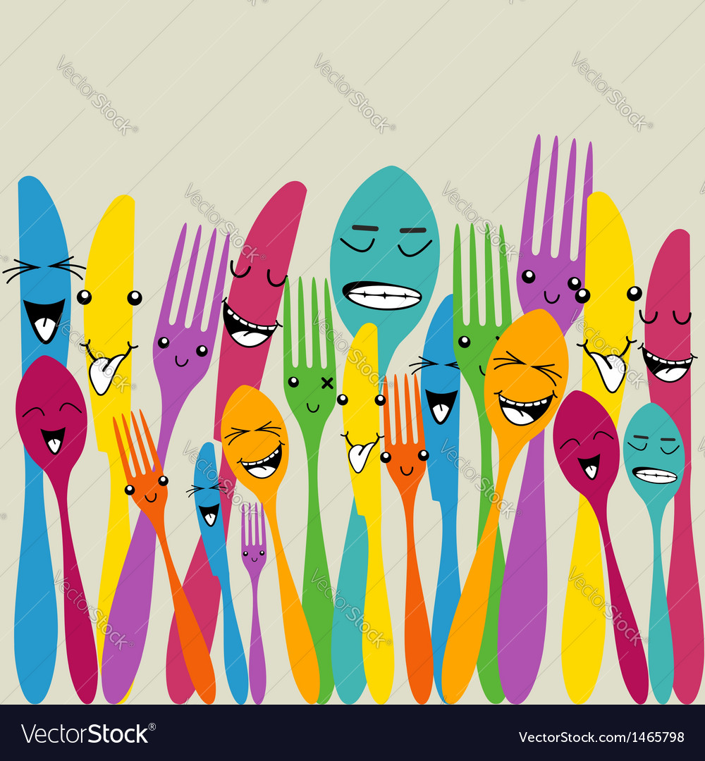 Colorful silverware set vector | Price: 1 Credit (USD $1)