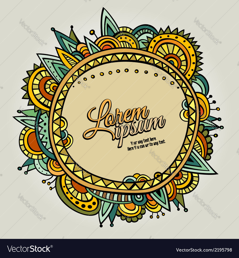 Ethnic cartoon border vector | Price: 1 Credit (USD $1)