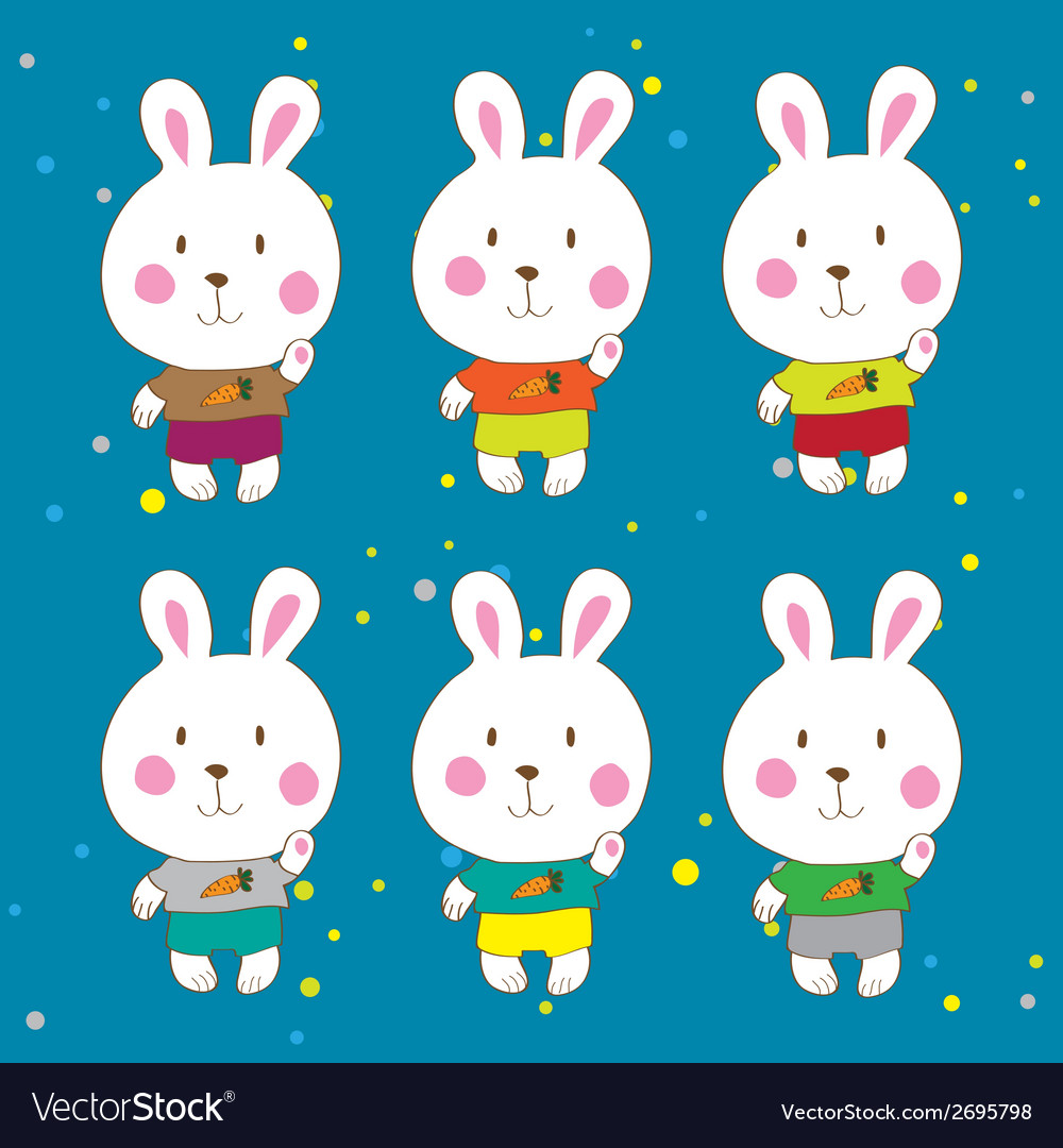 Funny bunnies on a white background characters vector | Price: 1 Credit (USD $1)