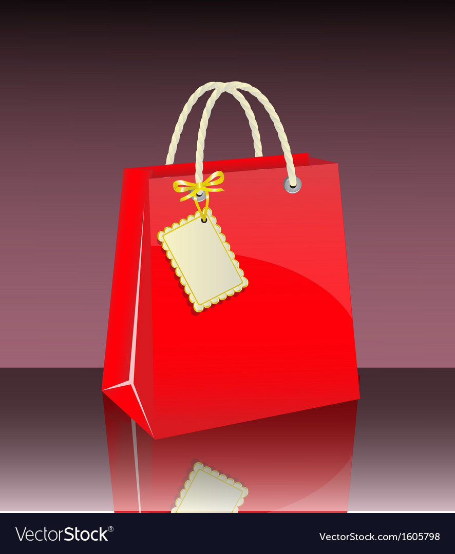 Gift bag with tag vector | Price: 1 Credit (USD $1)