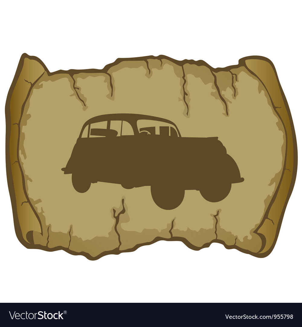 Parchment and retro car vector | Price: 1 Credit (USD $1)