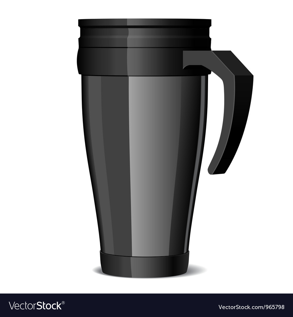 Shiny black metal travel thermo-cup vector | Price: 1 Credit (USD $1)