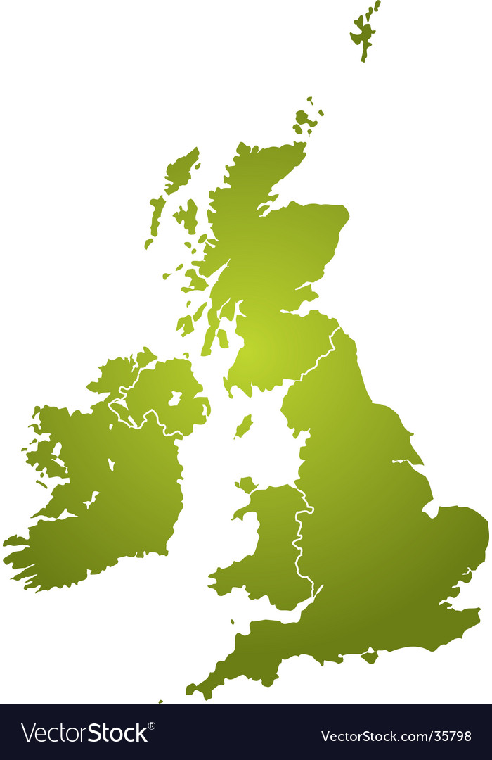 Uk map green vector | Price: 1 Credit (USD $1)