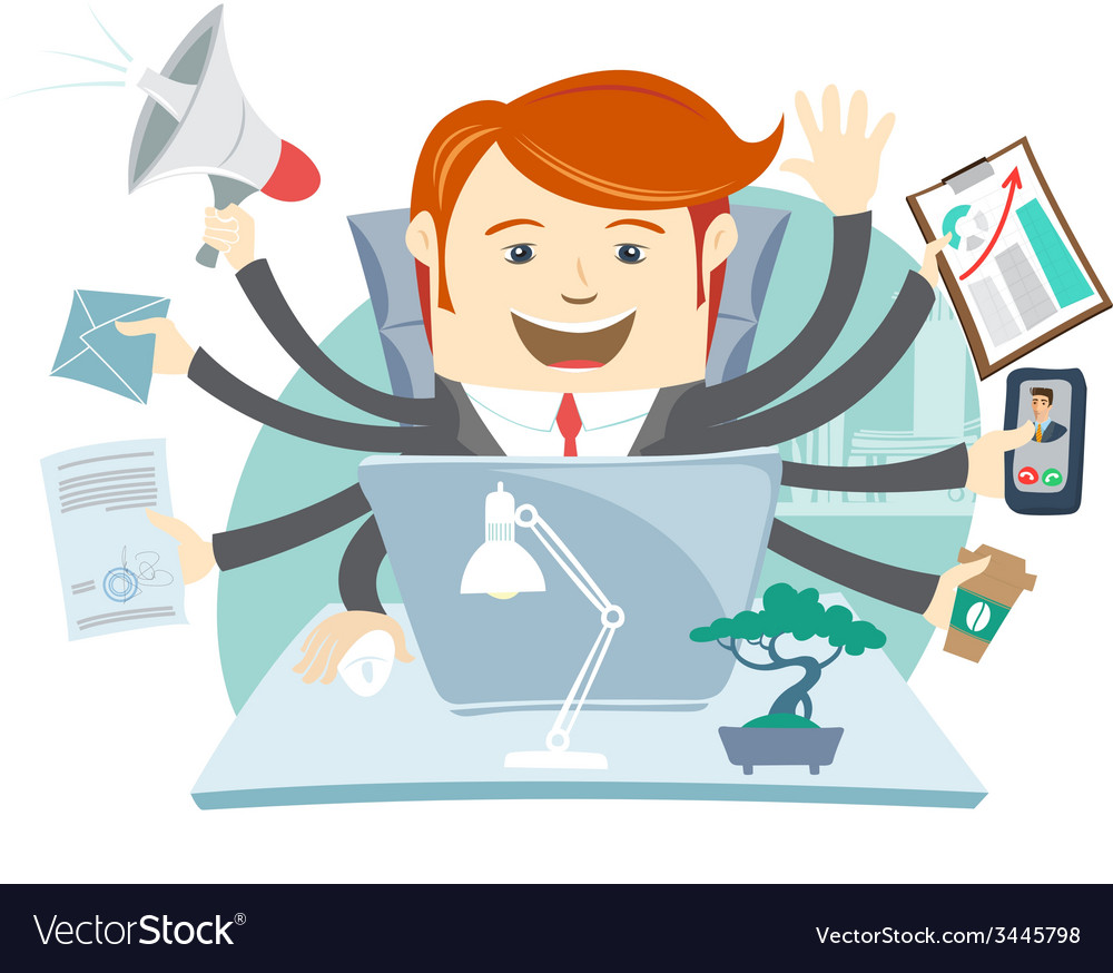 Very busy office man working hard by eight hands vector | Price: 1 Credit (USD $1)