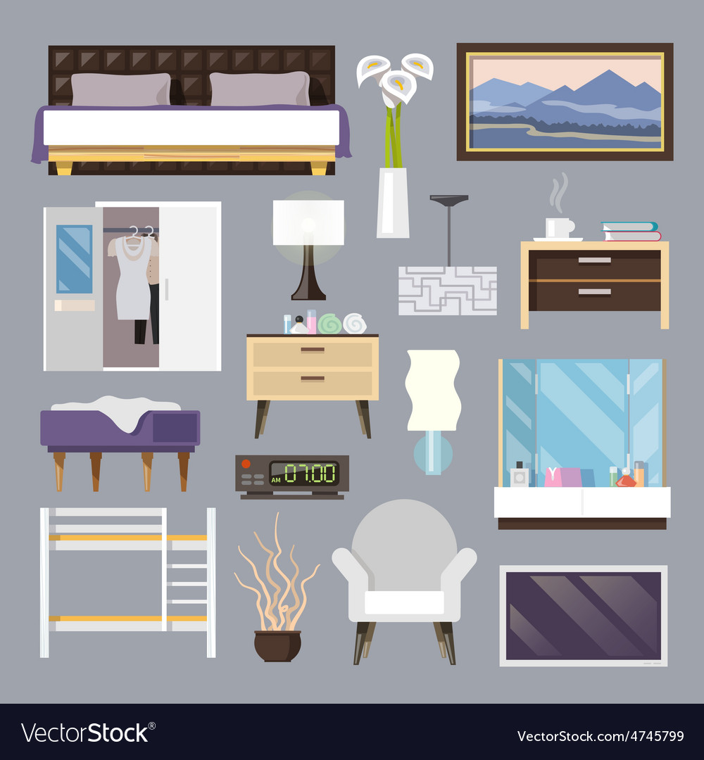 Bedroom furniture flat icons set vector | Price: 1 Credit (USD $1)