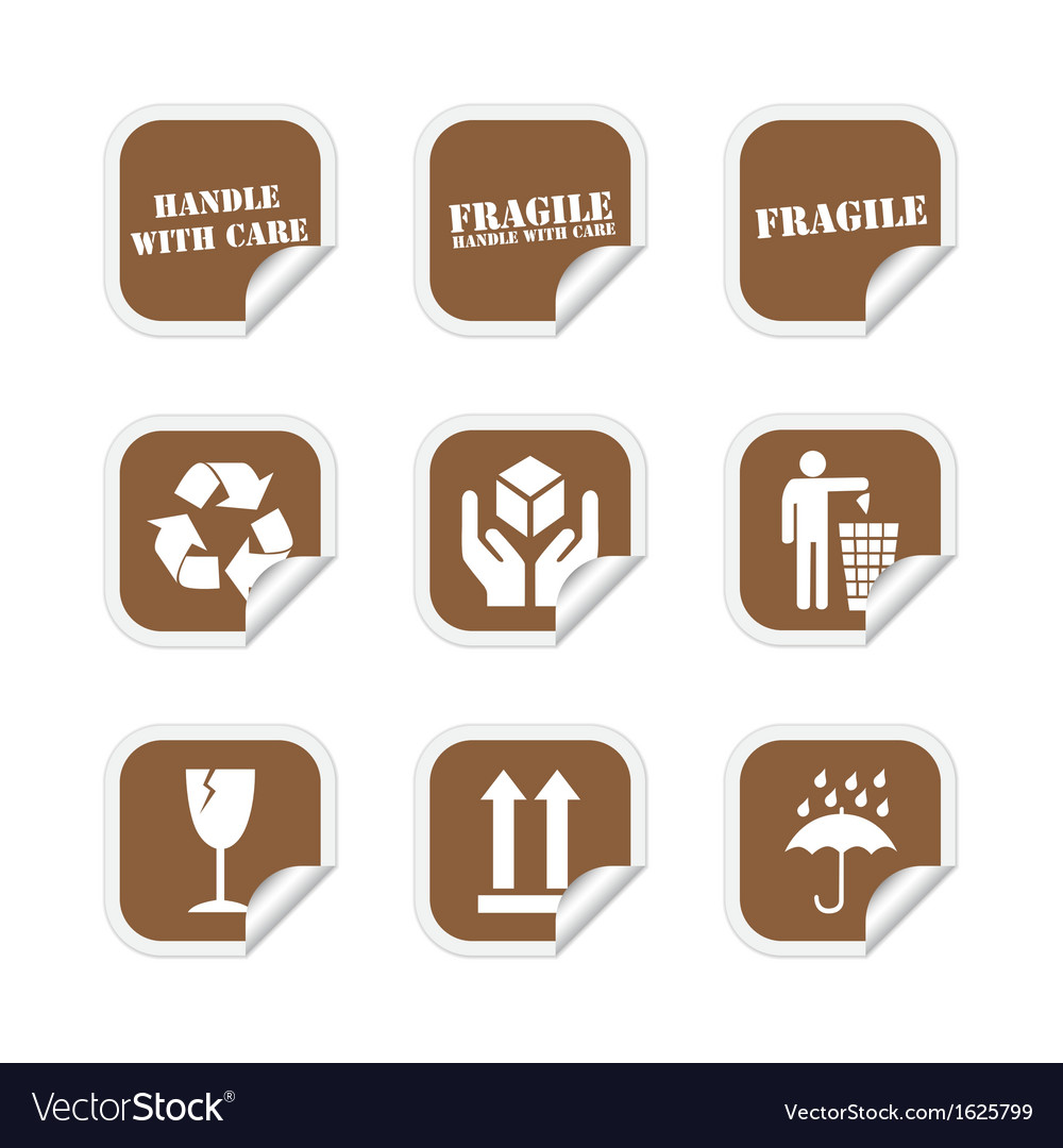 Brown fragile stickers vector | Price: 1 Credit (USD $1)
