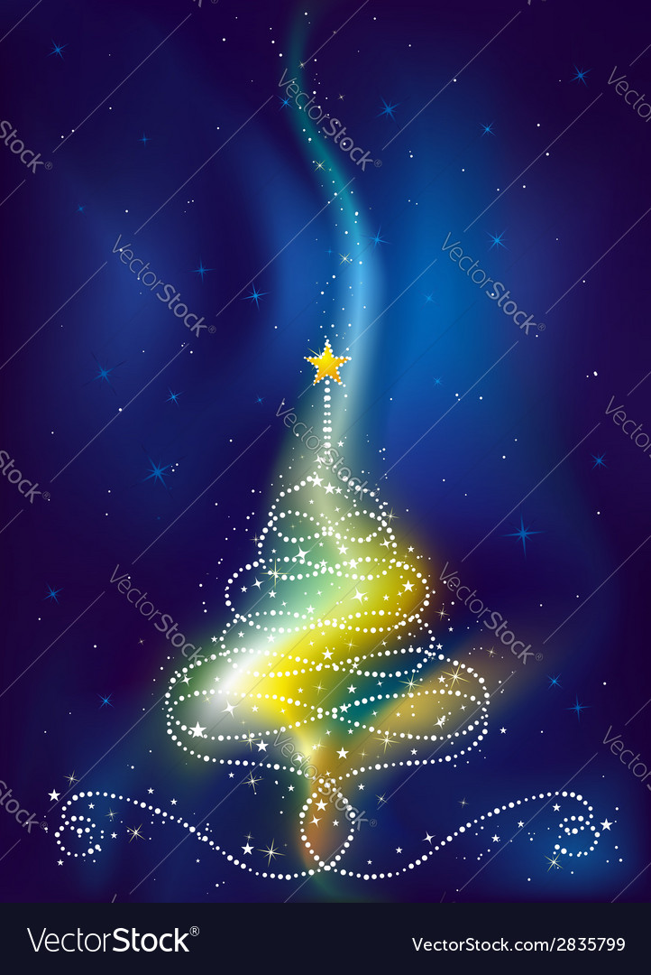 Christmas tree on dark blue background vector | Price: 1 Credit (USD $1)