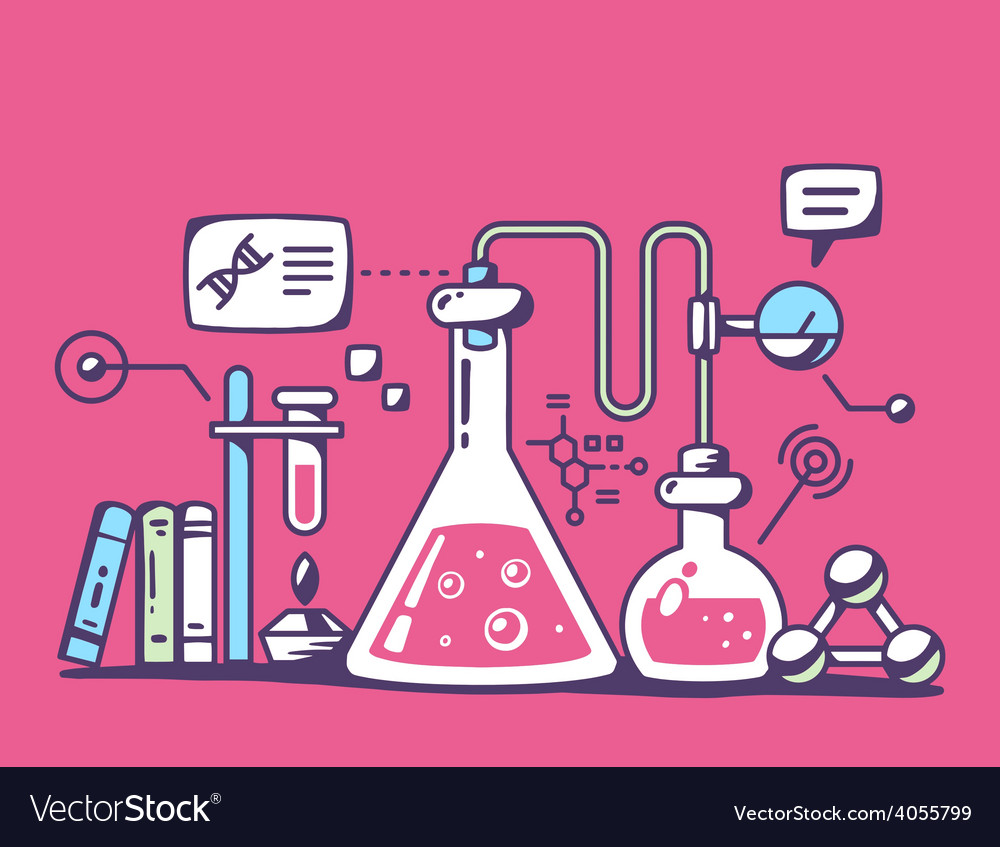 Colorful chemical laboratory flasks on re vector | Price: 1 Credit (USD $1)