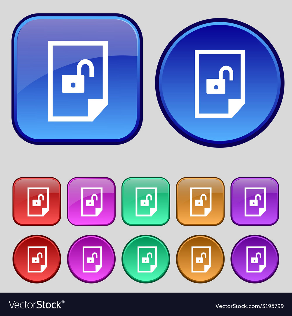 File unlocked icon sign set of coloured buttons vector   Price: 1 Credit (USD $1)