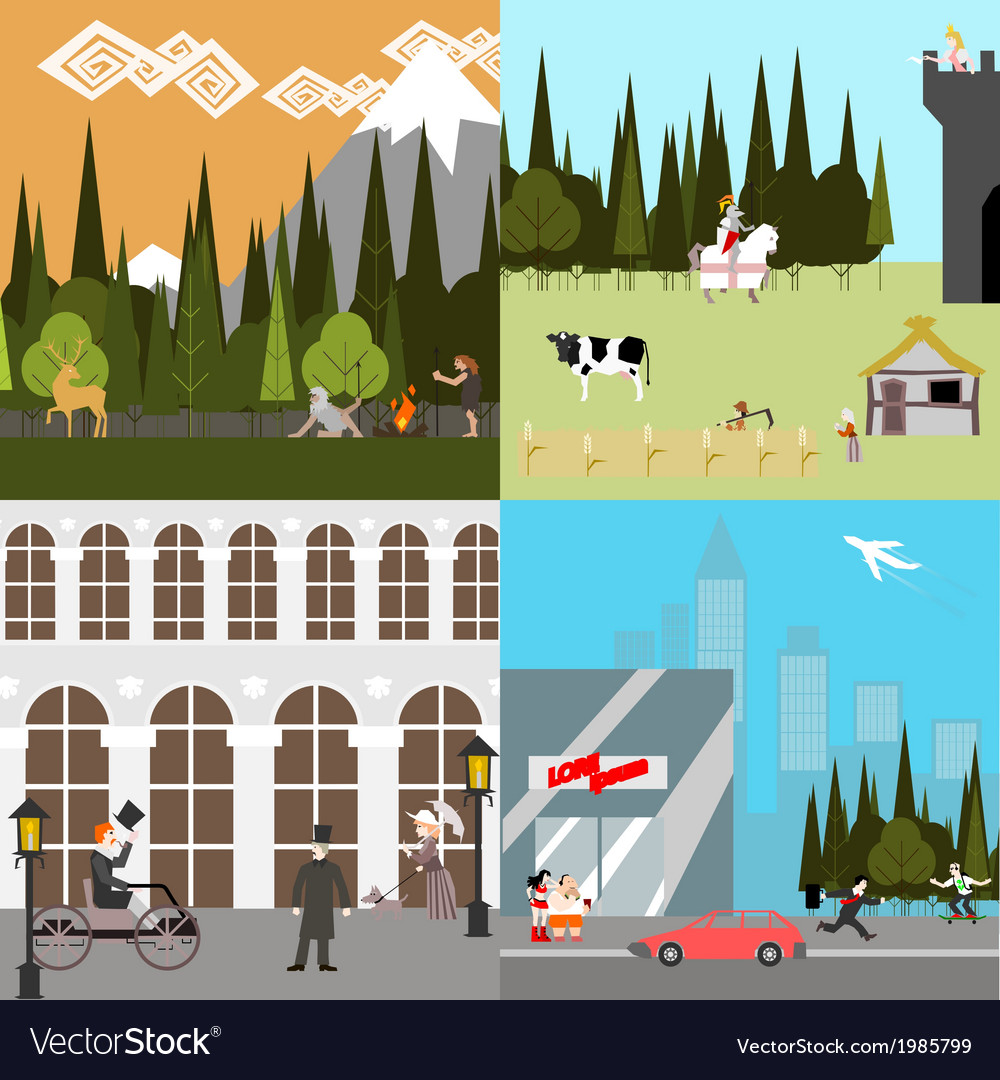 Flat design time line people life ancient medieval vector | Price: 1 Credit (USD $1)