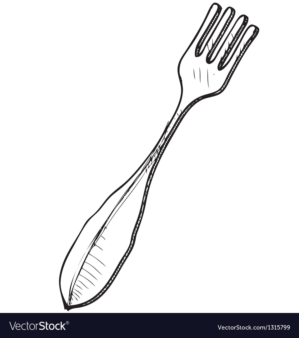 Fork sketch in doodle style vector | Price: 1 Credit (USD $1)