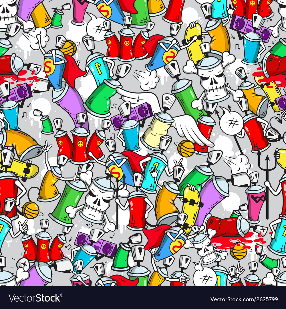 Graffiti characters seamless pattern vector | Price: 3 Credit (USD $3)