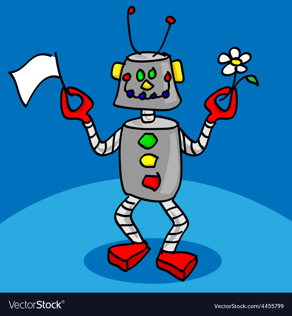 Peaceful robot vector | Price: 1 Credit (USD $1)