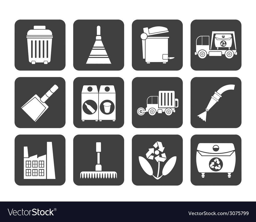 Silhouette cleaning industry and environment icons vector | Price: 1 Credit (USD $1)
